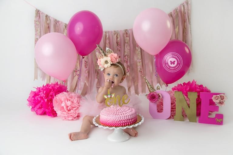 Aubrey 1st Birthday Unicorn Cake Smash