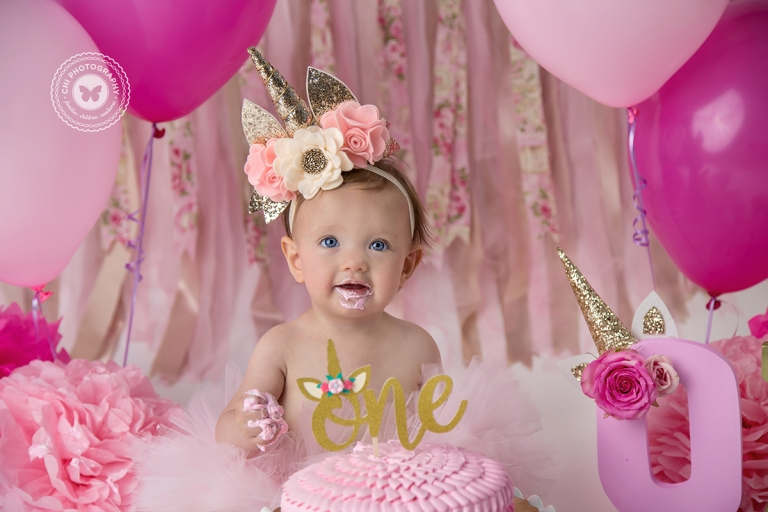 Aubrey 1st Birthday Unicorn Cake Smash